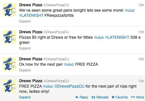 Drew's pizza boobs tweets