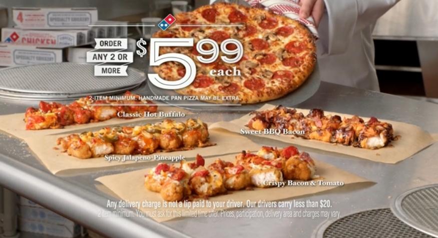 Pizza Dominos sans pâte poulet frit